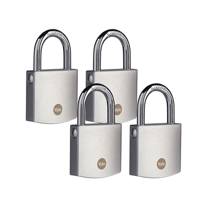 Picture of 50mm Brass Padlock with Chrome Finish - Quad Pack