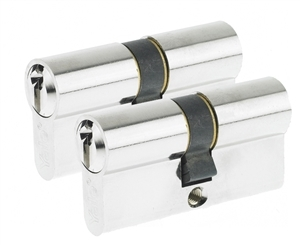 60mm Euro Profile Cylinder - Satin Nickel (Duo Pack)